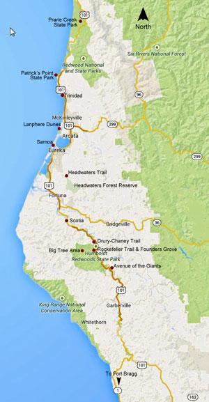 Map Of California Redwoods.California Coast Redwoods 2014
